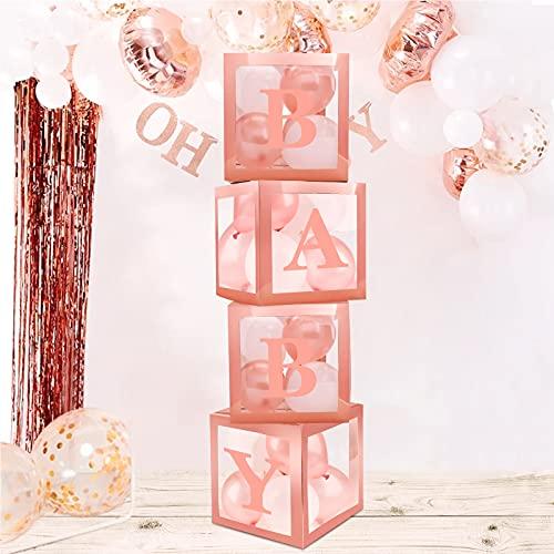 decorazioni natalizie rosa gold 4 Pezzi Baby Shower Scatole Decorazioni per Feste