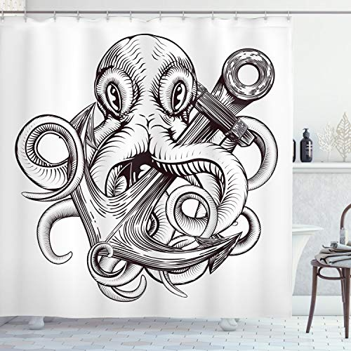 Ambesonne Anchor Shower Curtain, Monochrome Octopus Tattoo Art Style Naval Sketch Mythical Kraken Beast Design, Cloth Fabric Bathroom Decor Set with Hooks, 70' Long, White Brown