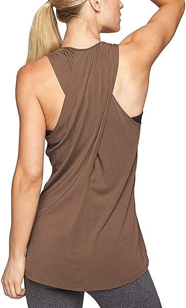 Womens Sleeveless Cross Back Yoga Shirt Activewear Workout Clothes Racerback Tank Top
