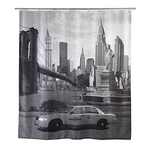 WENKO Textil Foto Duschvorhang New York mit 12 Ösen