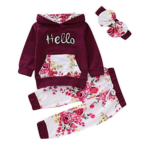 Borlai 3-teiliges Baby Mädchen Kapuzenpullover-Set Hello Print Kapuzenpullover mit Hose, 2-3 Jahre, [CN 100]