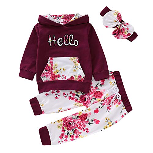 Borlai 3-teiliges Baby Mädchen Kapuzenpullover-Set Hello Print Kapuzenpullover mit Hose, 1-5 Jahre Gr. 86, rot