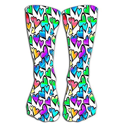 Outdoor-Sportsocken, Herren, Damen, hohe Socken, Gay Pride, farbige Herzen, Tinte, Pinselstriche, Grunge-Stil, modern, bemalt, Positive Fliesenlänge 50 cm