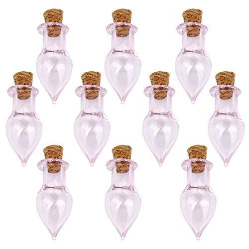 PIXNOR Waterdrop Shape Mini Glas Flaschen Gläser mit Korken Wunsch beachten Sie Handwerk Flasche - 10ST (klar)