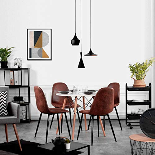 Magshion Side Metal Legs Cushion Seat Back Dining Room Chairs Set of 4 (PU Leather Coffee), Brown