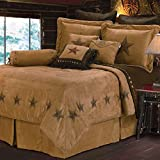 HiEnd Accents Luxury Star Western Faux Suede Bedding Comforter Set, King, Tan, Tobacco Brown & Chocolate 7 PC