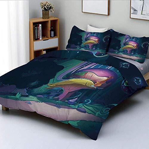 Qoqon Bettbezug-Set, große magische Pflanze im Märchenwald um Mitternacht Kinderbuchdesign WonderlandDecorative 3-teiliges Bettwäscheset mit 2 Kissen Sham, Mehrfarbig, Kinder