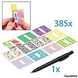 Paquete con 385 Etiquetas Escribibles- 11 Diseños Diferentes - Para...