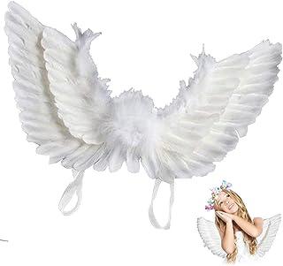 Kindness 天使の翼 天使の羽 コスチューム用小物 コスプレ用 仮装 衣装 小物 小道具 レディース 子供 ブラック ホワイト (大人, ホワイト)
