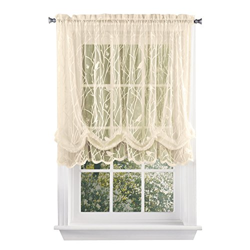 """Collections Etc Songbird Shabby Chic Lace Balloon Shade Curtain with Rod Pocket Top, 56"""" W x 63"""" L, Ivory"""