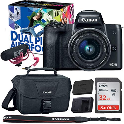 Canon EOS M50 Video Creator Kit with EF-M15-45mm Lens, Rode VIDEOMIC GO, Canon 100ES Camera case and 32GB Sandisk Memory Card Camera has Built-in Wi-Fi with NFC, Bluetooth + LCE-12 and LPE-12