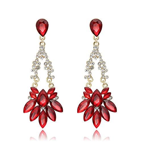 Skyllc Bijoux Elégant Boucles d'oreilles en pierre gemme cristal rouge pour les femmes