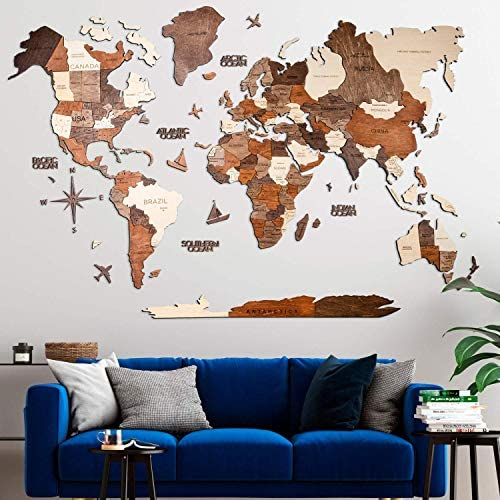 3D Wood World Map Wall Art Large Wall Decor World Travel Map All Sizes M L XL XXL Any Occasion product image