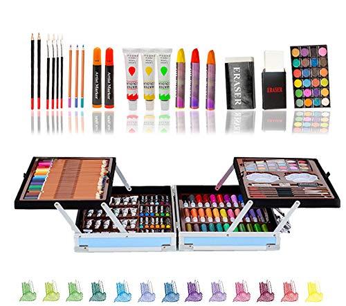 200pcs Conjunto de Dibujo de Arte, Creatividad Herramientas de Pintura Incluye Crayones de Cera, Acuarelas, Lápices de Colores, Pasteles, Regalos para Niños, Estudiantes, Principiantes y Artis