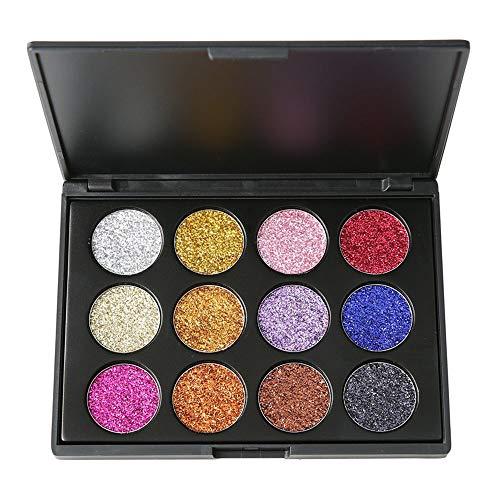 12-kleuren matte poeder oogschaduwpalet, gemakkelijk aan te brengen make-up, highlight-concealer, gezichtsherstelcapaciteit schijfvormige glitter