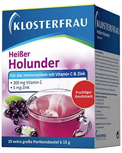 Klosterfrau 10 Beutel Heißer Holunder Tee für das Immunsystem mit Vitamin C und Zink