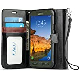J&D Case Compatible for Galaxy S7 Active Case, Wallet Stand Slim Fit Heavy Duty Protective Shock Resistant Flip Cover Wallet Case for Samsung Galaxy S7 Active Wallet, Black