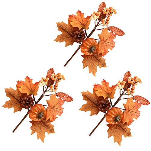 TITA-DONG Artificial Fall Flower Picks,10.5inch 3 Pack Thanksgiving Autumn Harvest Pumpkin Maple Leaf Berry Sunflower Twig Stem for DIY Wreath Supplies Flower Arrangements