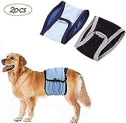 ZEEY 2 Packs Dog Washable Male Diapers, Sanitary Male Dog Protector Pants Reusable Male Dog Pants