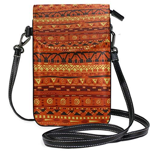 ZZKKO Minibolso de hombro geométrico africano para teléfono móvil, bolso de mano, de piel, para mujer, casual, diario, viajes, senderismo, camping