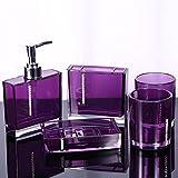 5PC / Set Accesorios de baño de acrílico para Accesorios Incluyen Taza de baño, Botella, Cepillo de Dientes, Soporte, jabonera, Accesorios de baño, púrpura