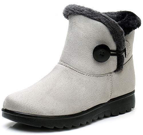 Vunavueya Damskie kozaki zimowe z ciepłą podszewką, buty zimowe zimowe z krótką cholewką, buty 35-42, szary - Szary B - 36 EU