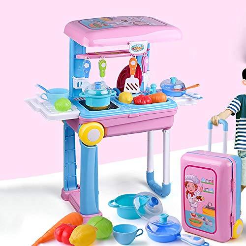 CaoQuanBaiHuoDian Kinder Bausteine Pretend Küche Küche Herd Kind-Kochen Rolle spielt Fantasie-Spiel-Geschenk in einem Koffer gelegt Werden (Color : Pink, Size : 55x20x46.5cm)