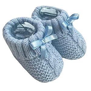 Nursery Time Baby Boys Girls 1 par de botines de punto suaves para recién nacidos 116-354, color Azul, talla 0-3 meses