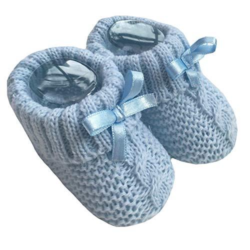 Nursery Time Baby Jungen Mädchen 1 Paar Gestrickte Booties Weiche Neugeborene Gestrickte Booties mit Schleife 116-354, Blau - blau - Größe: 0-3 Monate