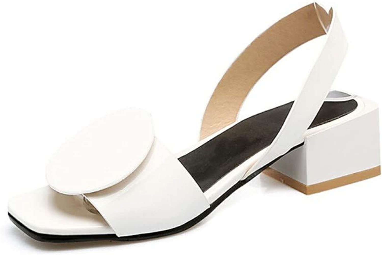 ZHZNVX Women's PU Summer Sandals Chunky Heel Open Toe White Black