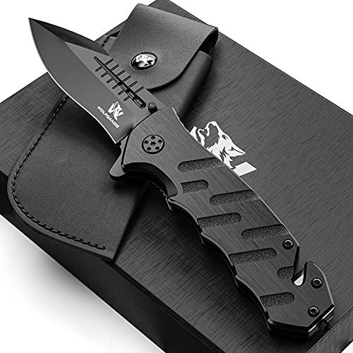 Wolfgangs AUXILUM Rettungsmesser aus 440C Stahl I Survival Outdoor Taschenmesser mit Glasbrecher & Gurtschneider (Einhandversion Schwarz)