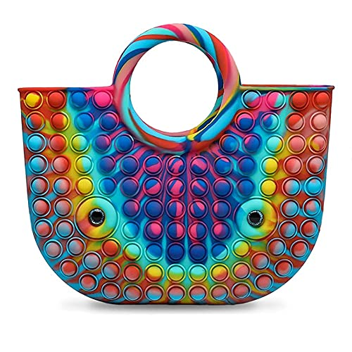 Push Bubble Handbag Sensory Toys, Fashion Rainbow Silicone Anxiety Stress Relief Popping Fidget Hand Bag, Colorful Women Beach Handle Bag Purses, Novelty Game Toys Storage Bag Basket for Kids Adults