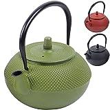 Teiera in ghisa dal design tradizionale giapponese con filtro da tè in acciaio inossidabile - Volume: 1250 ml - Rivestimento di smalto verde