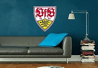 Wandtattoo VFB10051 Nr VfB Stuttgart Skyline schwarz mit Logo farbig Art 120x19 cm Wall-Art Aufkleber Logo 18 cm Breite