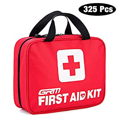 First Aid Kit (325 Pieces), GRM Complete Emergency Preparedness Kit with 325 FDA-Approved Supplies & 1 Storage Bag for Home Office School Car Travel Camping Hiking