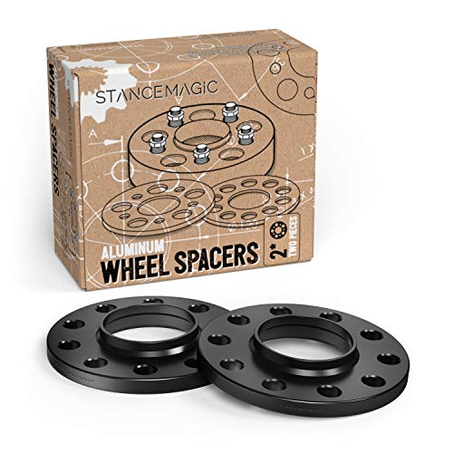 StanceMagic - 12mm (1/2 inch) 5x114.3 Hubcentric Wheel Spacers (60.1mm Bore) Compatible with Toyota Avalon Camry Supra Scion Tc Lexus ES300 ES330 ES350 IS250 IS300 IS350 GS300 GS350 (Black, Pack of 2)