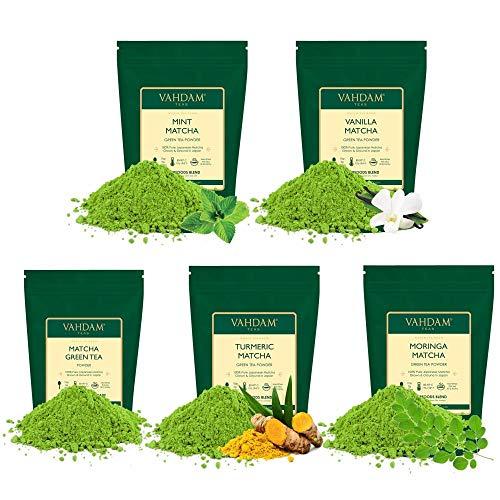 VAHDAM, Matcha-Grüntee-Sampler - 5 Tees | 100% reines japanisches Ursprungs-Matcha-Teepulver | 137x Anti-OXIDANTS | Energie, Fokus & Stoffwechselverstärker | Grüner Tee zur Gewichtsreduktion