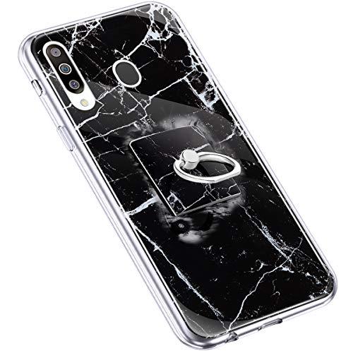 Uposao Kompatibel mit Samsung Galaxy M30 Handyhülle Marmor Muster mit Ring Halter Ständer Ultradünn TPU Silikon Hülle Schutzhülle Durchsichtig Bumper Stoßfest Hülle Backcover,Schwarz