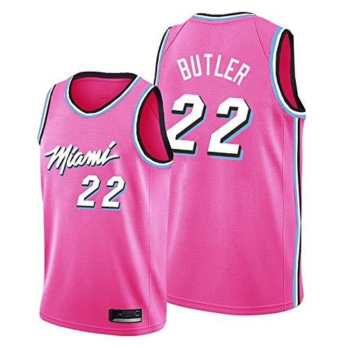 BXWA-Sports Camiseta de Baloncesto para Hombre, Miami Heat Butler # 22 Retro Classic sin Mangas Camiseta de Uniforme de Baloncesto Competencia Swingman Jerseys,Rosado,M