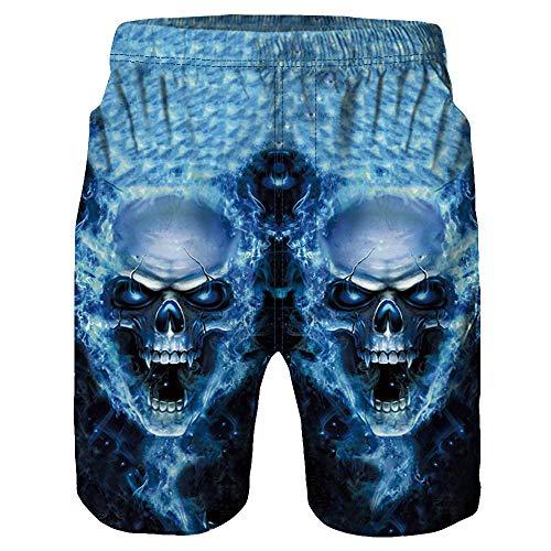 IZHH Herren Badehose,Freizeit Beachshorts Kurze Hosen Schnelltrocknend Casual 3D Skull Printed Beach Work Casual Shorts Hosen SchäDel Print Shorts Strandhosen Beachvolleyball-Shorts(Blau,XL)