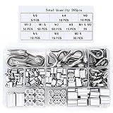 Yuhtech 265 Pcs Kit di redance in acciaio inossidabile e manicotti per fune in alluminio per filo metallico e cavo