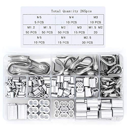 Yuhtech 265Pcs Clips de Mangas De Aluminio Aparejos de Cable de Virolas...