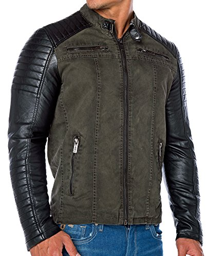 Red Bridge Jacke Herren Biker Kunstleder Lederjacke Redbridge Jacket mit gesteppten Bereichen (XL, Khaki) - 3