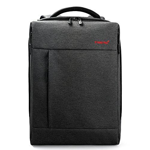 tigernu Business Rucksack Laptop Rucksack 39,6cm mit USB Lade-Port Diebstahlschutz Wasserabweisendes Polyester Schultasche für College-Studenten für MacBook Dell Lenovo und Notebook Grau schwarz grau