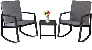 Bonnlo 3 Piece Rocking Wicker Patio Set, Bistro Set Furniture, Patio Conversation Set Rattan Sofa Armchair for Backyard Porch Poolside Garden