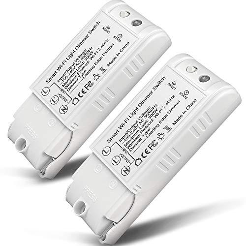2 Pack WiFi Dimmer Switch, NOTSEK Wireless Dimmer Switch Module Relay Smart...