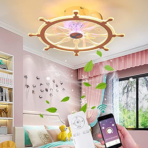 Plafon LED Lampara Silencioso Ventiladores de techo con Luz para Habitación Infantil Regulable con Mando a Distancia y APP luces de techo Creative para niño niña Dormitorio Bebe Habitación iluminación