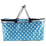 HM&DX Cesta de picnic aislados para 5 picnic plegable cesta bolsa almuerzo tote para barbacoa camping senderismo -azul 46*28*24cm