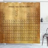 Ambesonne Science Shower Curtain, Elements Chemistry Table Vintage Old Design for Scientists Student Print, Cloth Fabric Bathroom Decor Set with Hooks, 75' Long, Sand Brown