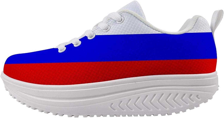 Owaheson Swing Platform Toning Fitness Casual Walking shoes Wedge Sneaker Women Russian Flag